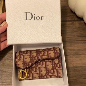 Dior oblique burgundy card holder